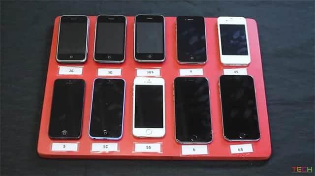 10台の歴代iPhone