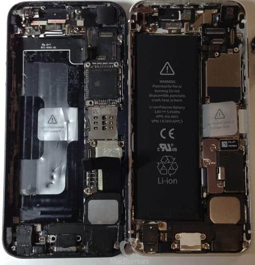 iPhone 5Sと5の内部比較画像