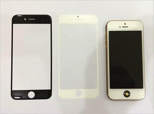 iPhone 6 ホワイトとブラックのフロントガラスパネルと、iPhone 5s(かな?)の比較画像もありました。