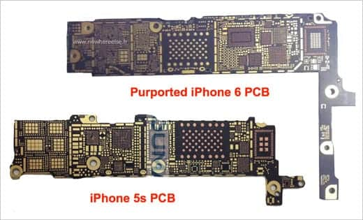 iPhone 5sとiPhone 6の基盤比較画像