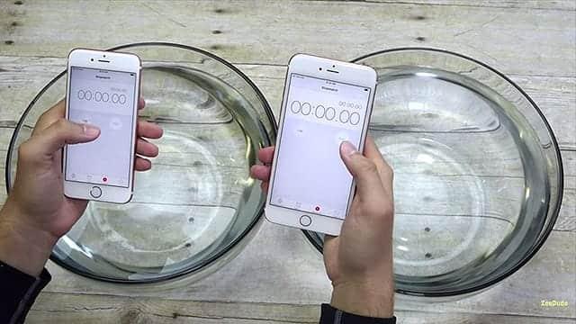 iPhone 6s 防水動画 タイマーをオンに。