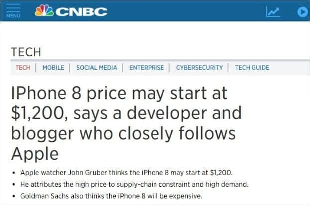 iPhone8の価格は13万5千円!?