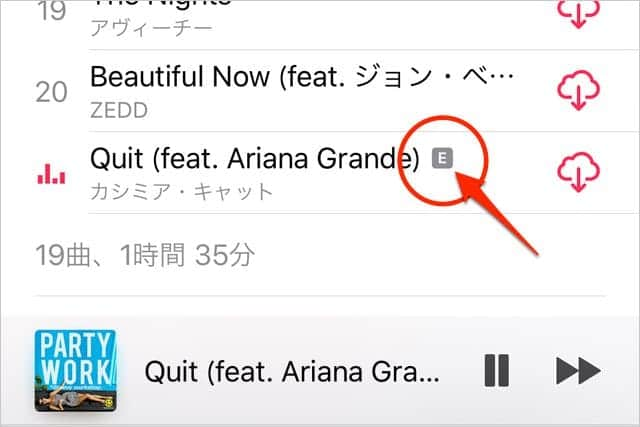 iTunesやApple Musicで表示される「E」の意味は?