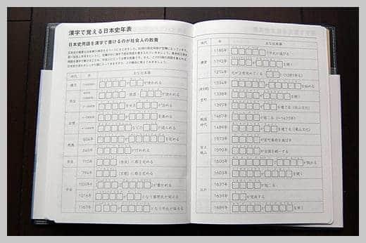陰山手帳レビュー 漢字で覚える日本史年表
