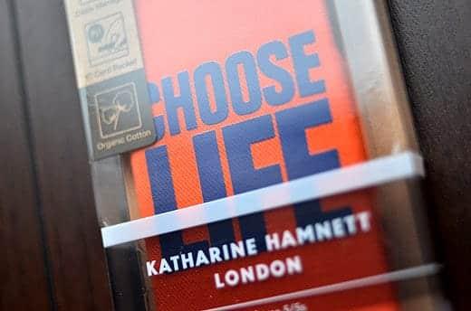 KATHARINE HAMNETT LONDON Fabric Cover Set for iPhone 5s CHOOSE LIFE ケース