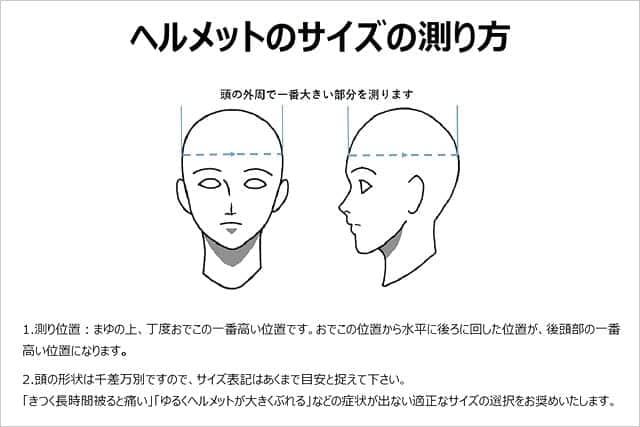 ヘルメットサイズの測り方