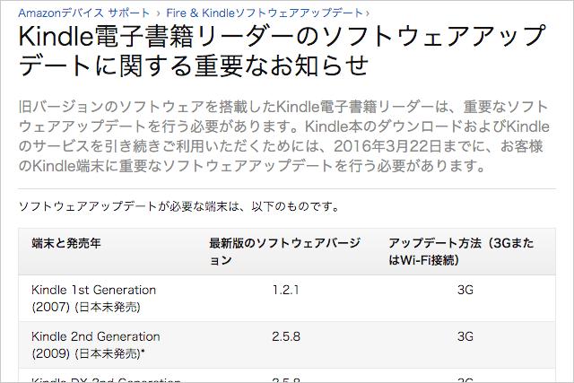 Amazon.co.jp ヘルプ: Kindle電子書籍リーダーのソフトウェアアップデートに関する重要なお知らせ