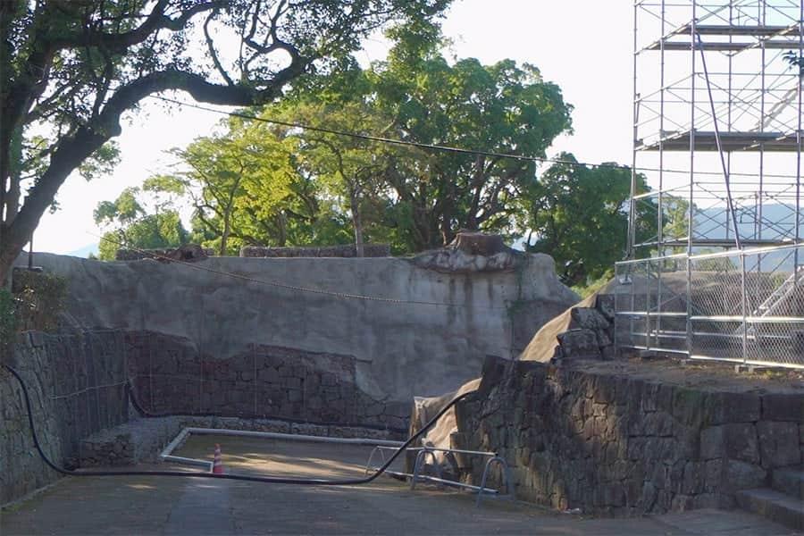 石垣がコンクリートで補強されてる所がいたるところに
