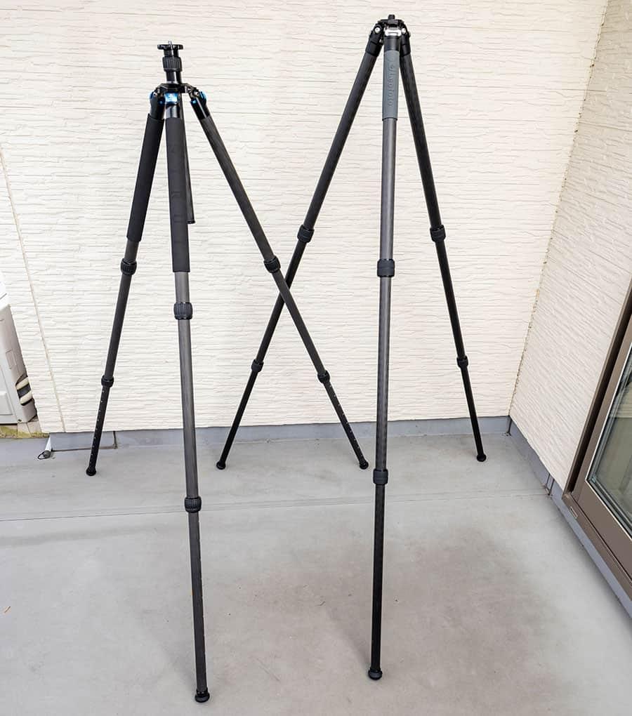 左がSIRUI R-3213X、右がLeofoto LS-323C