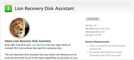 OS X Lion リカバリーディスクアシスタント