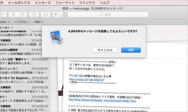 4,845件のメッセージを削除してもよろしいですか?