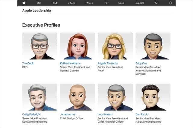 Apple幹部紹介ページのプロフィールをMemojiに