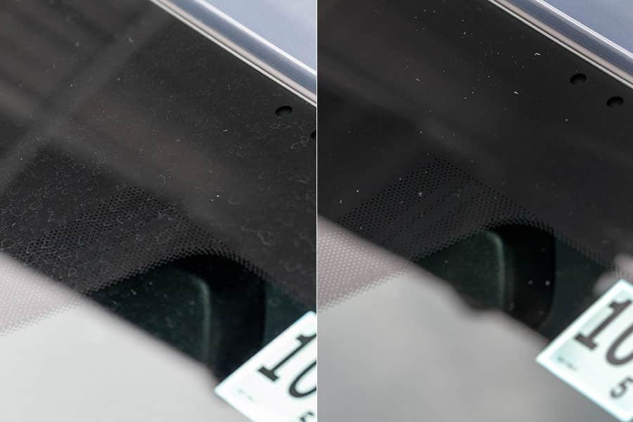 左がビフォーで右がアフター 驚くほど水垢が消えてる!