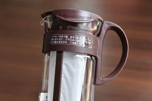 コーヒーの注ぎ口に注意書き