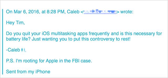 Caleさんがティム・クックさんに送ったメール