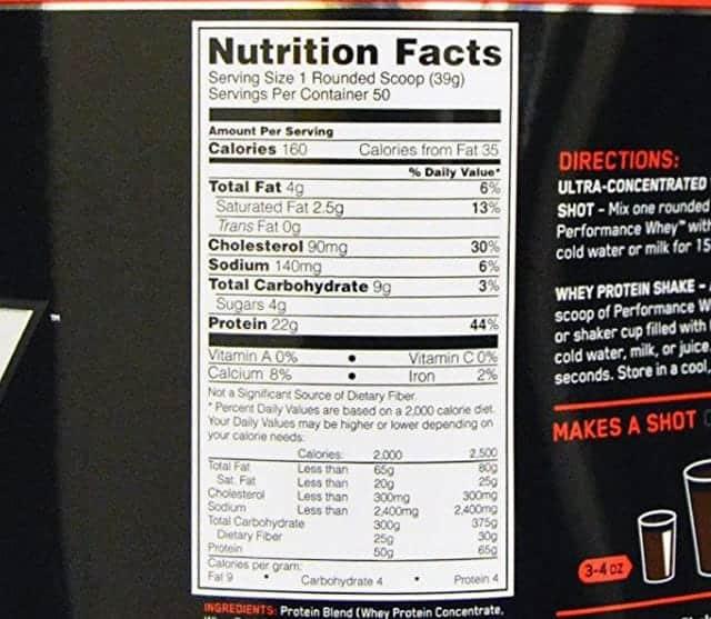 オプティマムのパフォーマンスホエイ1.95kg 成分表