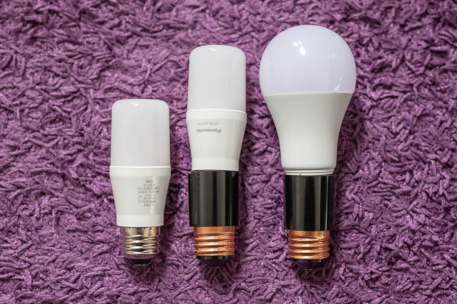 T形LED電球に延長アダプタを装着