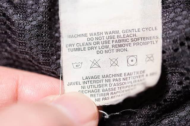 ダスパーカの洗濯表示タグ