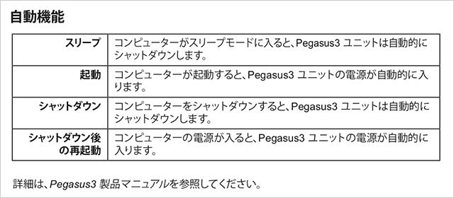 Pegasus3のクイックスタートガイドに書かれてる自動機能の項目