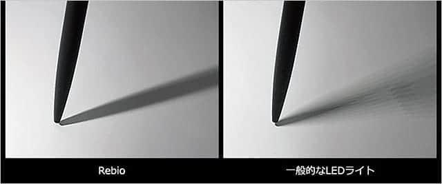 レビオ 影 一般的なLEDライトと比較