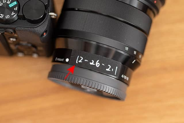 10-18mmのレンズに書いた数値