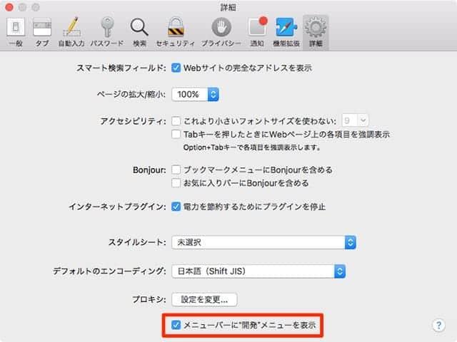 Safari 環境設定→詳細→メニューバーに開発メニューを表示