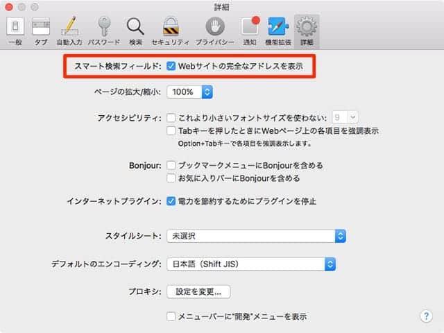 Safariの環境設定 Webサイトの完全なアドレスを表示