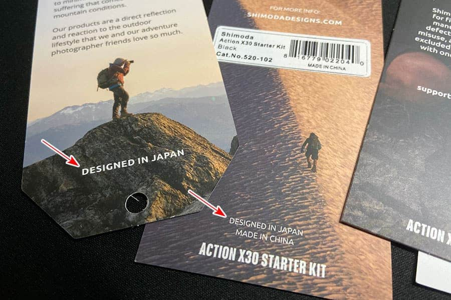 Shimoda Action X30に付属のタグにはDesigned in Japanの文字が