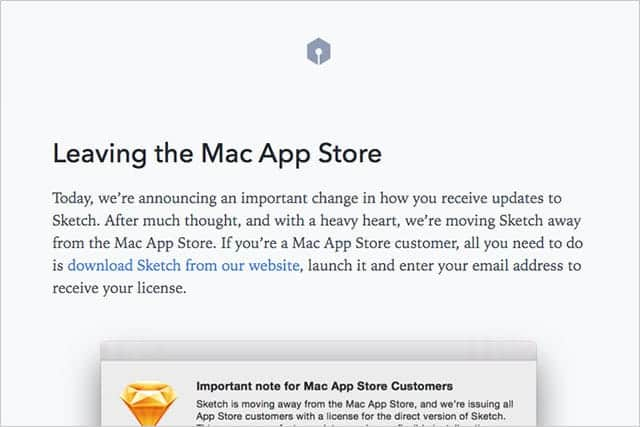 Sketch がMac App Store 撤退
