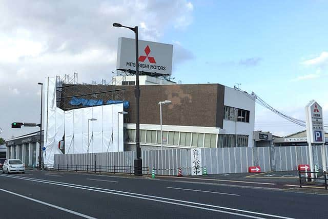 熊本地震で被災した熊本三菱自動車販売 熊本支店
