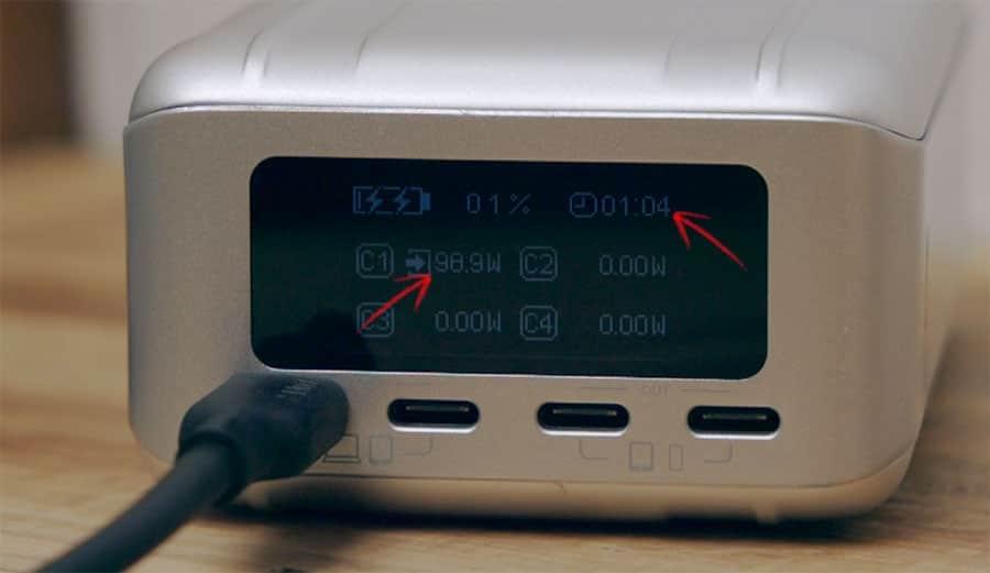 約100Wで充電可能 残りの充電時間も分かる