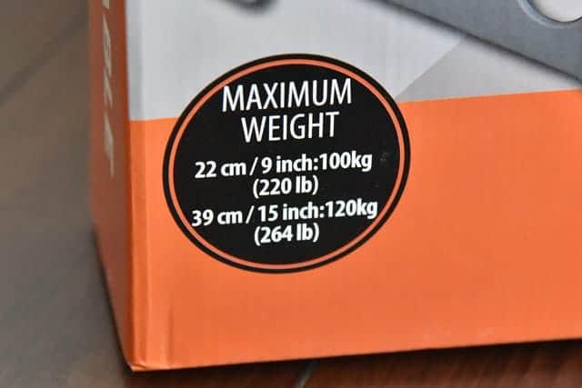 22cmは100kgまで、39cmは120kgまでの耐荷重量