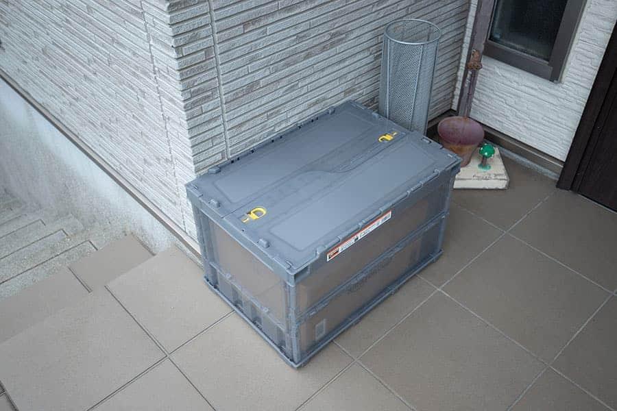 宅配ボックスコンテナ 配達完了で蓋も閉じてあった