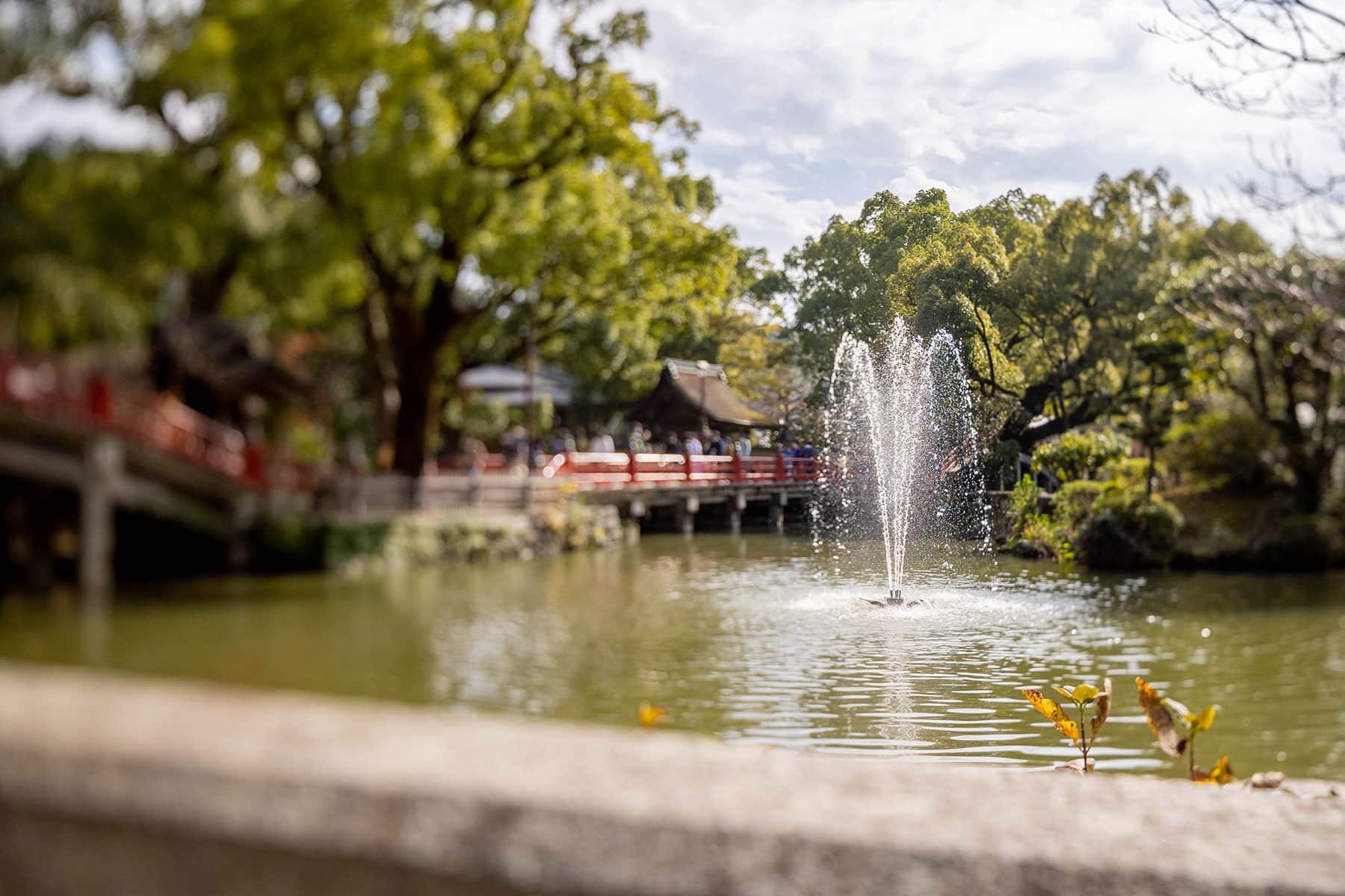 太宰府天満宮の池の噴水