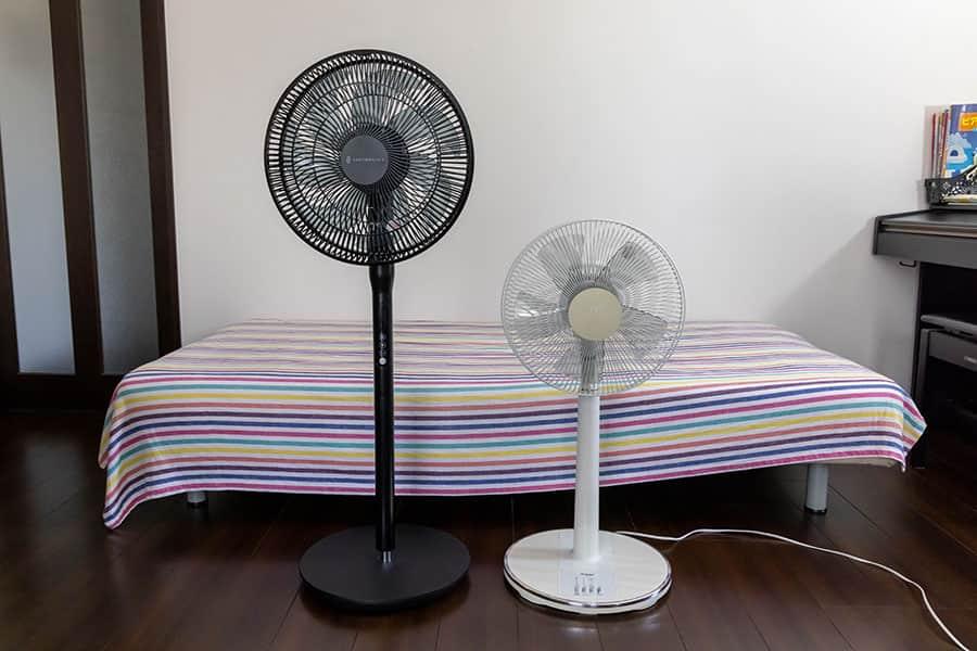 今まで使ってたACモーター扇風機と比較
