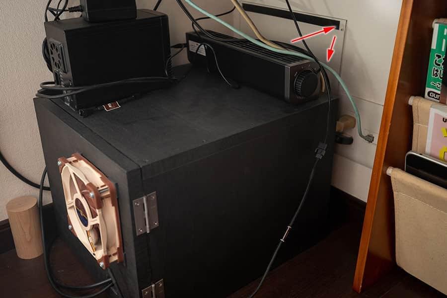 静音ボックスにUSB扇風機を設置