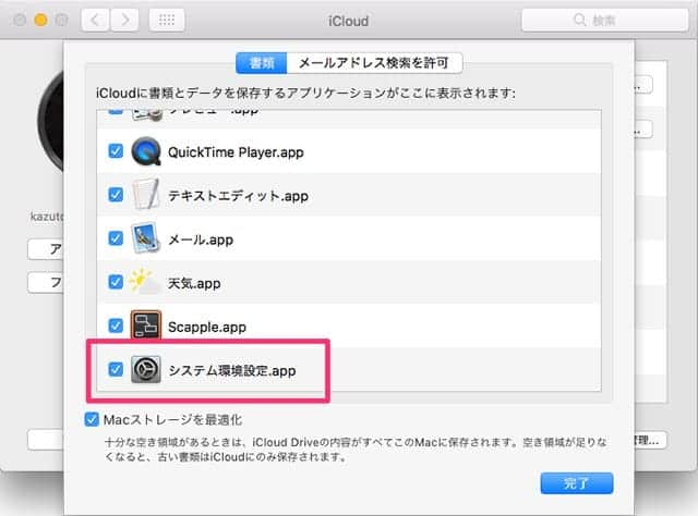 iCloud Driveのオプション