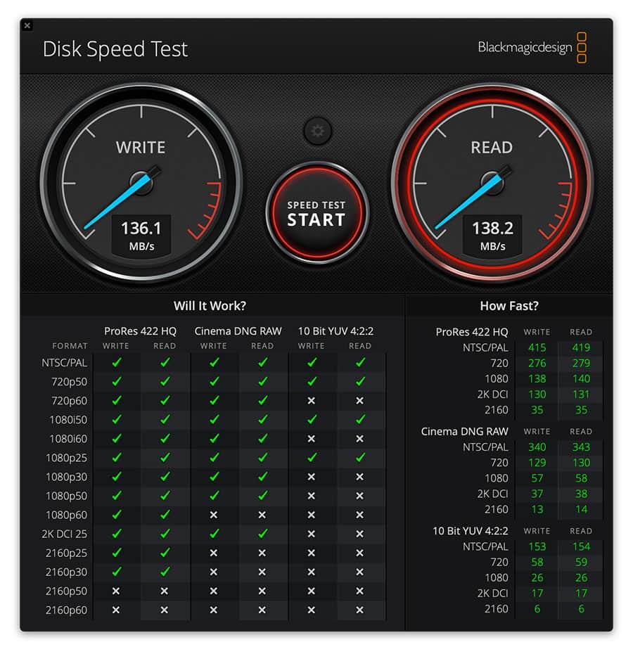5TBの外付けHDDの転送速度結果