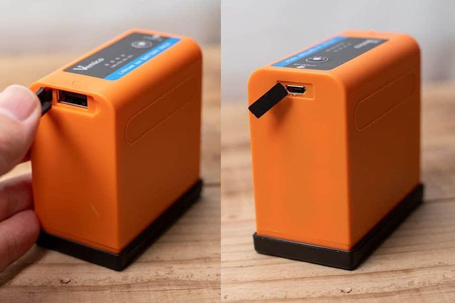 左がモバイルバッテリーとして使う時のUSB端子、右が充電する時のmicroUSB端子