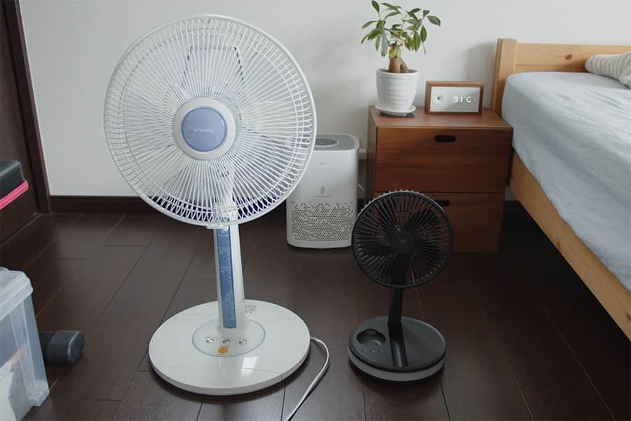 ポータブル扇風機 一般的な家庭用扇風機との大きさ比較