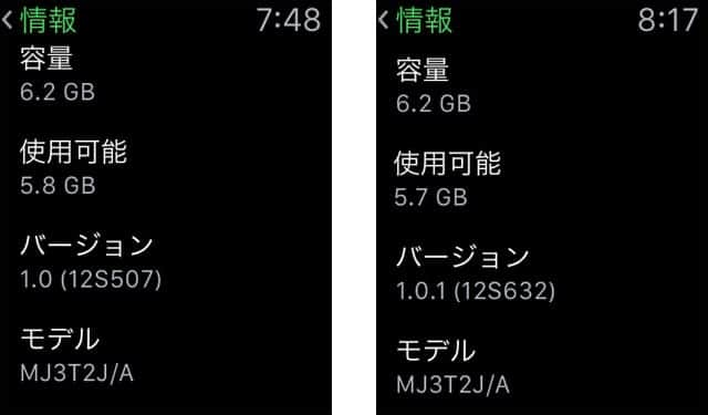 Watch OS ソフトウェアアップデート完了