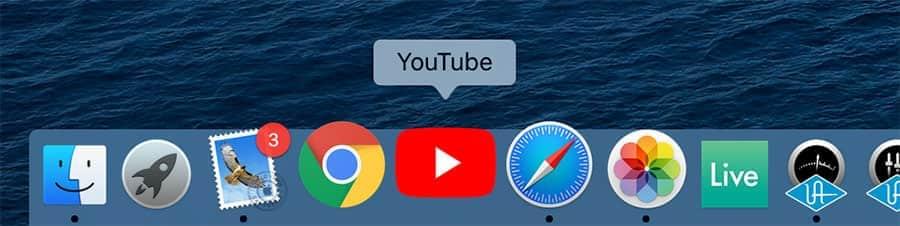 YouTubeアイコンも独立してるのでDockに追加しておきました
